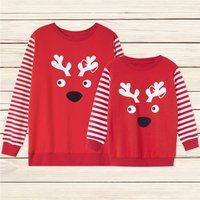 Lovely Deer Printed Pullover for Mom and Me