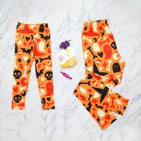 Mommy and Me Hallowen Printed Matching Leggings in Orange