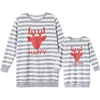 Mommy and Me Stripes Deer Printed Pullover in Grey