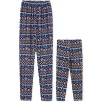 Indian Style Striped Print Matching Leggings in Blue