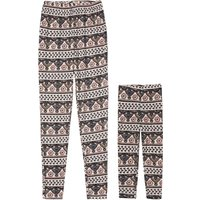 Indian Style Striped Print Leggings in Pink