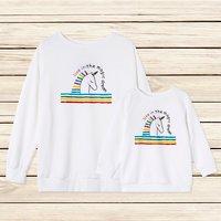 Cute Rainbow Unicorn Print Matching Sweater in White