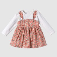 Pretty Bunny Ears Design Floral Long-sleeve Dress for Toddler Girl and Girl
