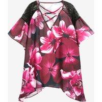 Women's Maternity Lace Flower Printed Chiffon Blouse