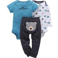 3-piece Bear Applique Bodysuit Set