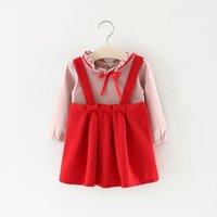 Ruffle Bowknot Top and Strap Skirt Set