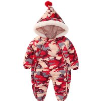 Toddler's Cool Camouflage Cotton Quilted Hooded Winter Jumpsuit