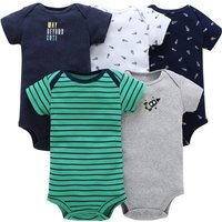 Cool Rocket Print & Green Striped Five-Piece Bodysuit For Baby