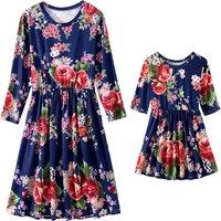 Blue Long-sleeve Matching Dress with Beautiful Flower