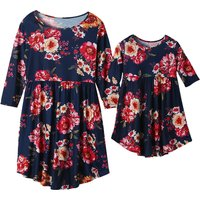 Floral Printed Fall Dress for Mom and Me