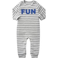 Baby's Fun X'MAS Long-sleeve Stripes Footless Autumn Jumpsuit