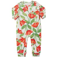 Baby Girl's Pretty Floral Long-sleeve Autumn Footless Jumpsuit