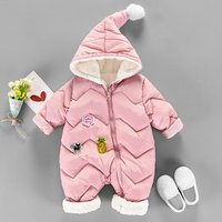 Toddler's Pineapple Applique Plush Lined Hooded Warm Thick Puffer Jumpsuit Snowsuit