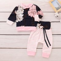 Floral Top and Striped Pants Set