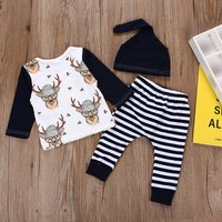 3-piece Cartoon Reindeer Striped Set