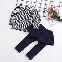 2-piece Striped Top and Ruffle Leggings Set