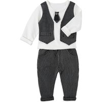 2-piece Adjustable Tie Striped Long-sleeves Top and Pants