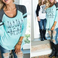 Casual Long-sleeve Letter Print Color block T-shirt For women