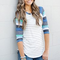 Autumn Color block Striped Round-collar With Three Quarter Sleeve For women
