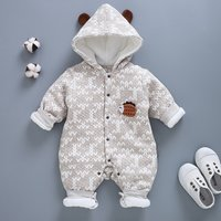 Baby Animal Applique Hooded Jumpsuit