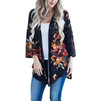 Stylish Painting Floral Kimono Style Three Quarter Sleeve Cardigan For women