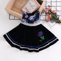 Rose Applique Sleeveless Velvet Dress