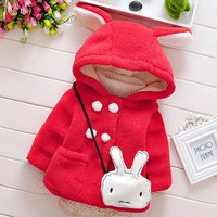 Bunny Ears Hooded Coat with Rabbit Bag