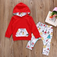 Baby's Jolly Christmas Graphic Hooded Long-sleeve Top and Pants Set