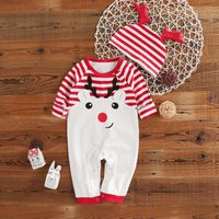 2-piece Fresh Reindeer Print Striped Long-sleeve Jumpsuit and 3D Ear Hat For Baby
