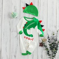 2-piece Funny Green Dinosaur Design Long-sleeve Jumpsuit and Hat For Baby