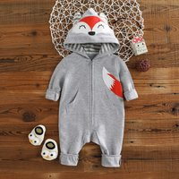Cuddly Fox Design Hooded Long-sleeve Jumpsuit with Pocket For Baby
