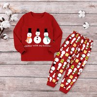 Toddler's Fun Chilling with My Homies Snowman Print Christmas Top and Pants Set in Red