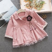 Toddler Girl's Sweet Tulle Stitching Hem Double Breasted Trench in Pink