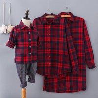 Comfortable Long-sleeve Plaid Family matching Shirt