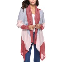 Popular Basic Three Color Splice Long-sleeve Cardigan For women