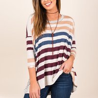 Fresh Spring Color block Striped Long-sleeve Top For women
