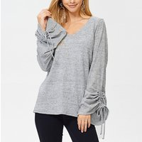 Comfy Solid  V-neck Drawstring Flare-sleeve Cotton Top For women