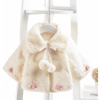Flower Decor Fleece Cape Coat