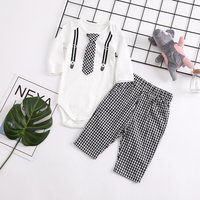 (Only 9-12M 12-18M in Stock)Long-sleeve Bodysuit and Plaid Pants Set