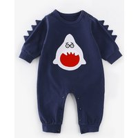 Funny Cartoon Style Monster Teeth Embroidered Shoulder snap Jumpsuit For Baby