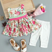 2-piece Floral Dress and Leggings Set