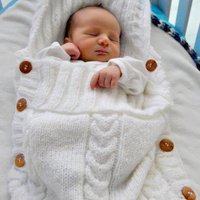 Buttons Side Hooded Knit Sleeping Bag Fits 0-6 Months