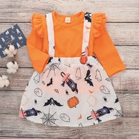 2-piece Chic Orange Ruffle Long-sleeve Top and Halloween Suspender Dress Halloween Outfits