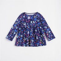 Stylish Colorful Flower Print Long Sleeves Dress for Baby Girls