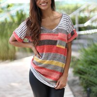 Irregular Striped Print short sleeve T-shirt