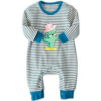 Fresh Cartoon Print Striped Long-sleeve Jumpsuit For Baby