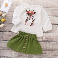 Pretty Deer Print Top and Buttons Front Skirt Set