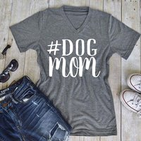 DOG mom Letter Print T-shit