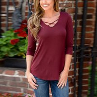 Sassy Crossed Tie Solid Long-sleeve Top For women