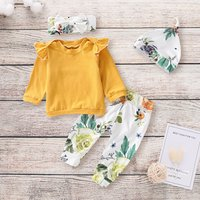 Ruffled Yellow Top Floral Pants Hat and Headband Outfit